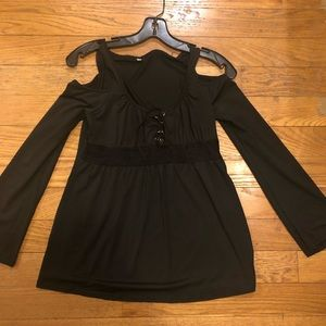 Tops - Black cold shoulder small shirt Never worn must go